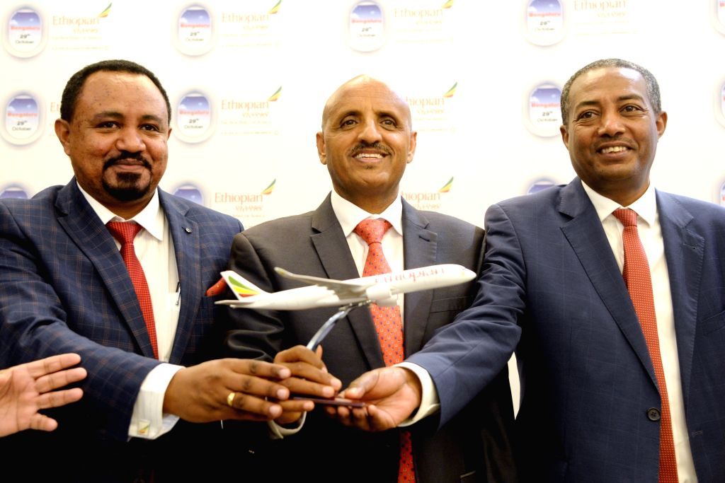 Ethiopian Airlines Group CEO Tewolde GebreMariam, Regional Director for India subcontinent Tadesse Tilahun and Consul General of Ethiopia Demeke Atnafu Ambulo during a press conference at ...