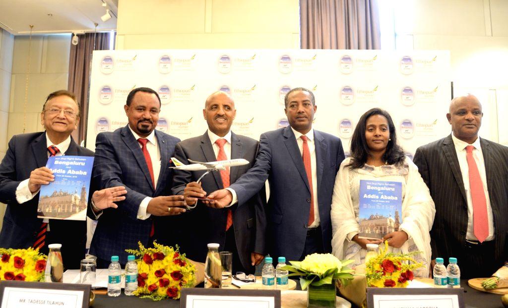 Ethiopian Airlines Group CEO Tewolde GebreMariam, Regional Director for India subcontinent Tadesse Tilahun, Regional Manager Lemma Yadecha, Ethiopian Ambassador to India Tizita Mulugeta ...