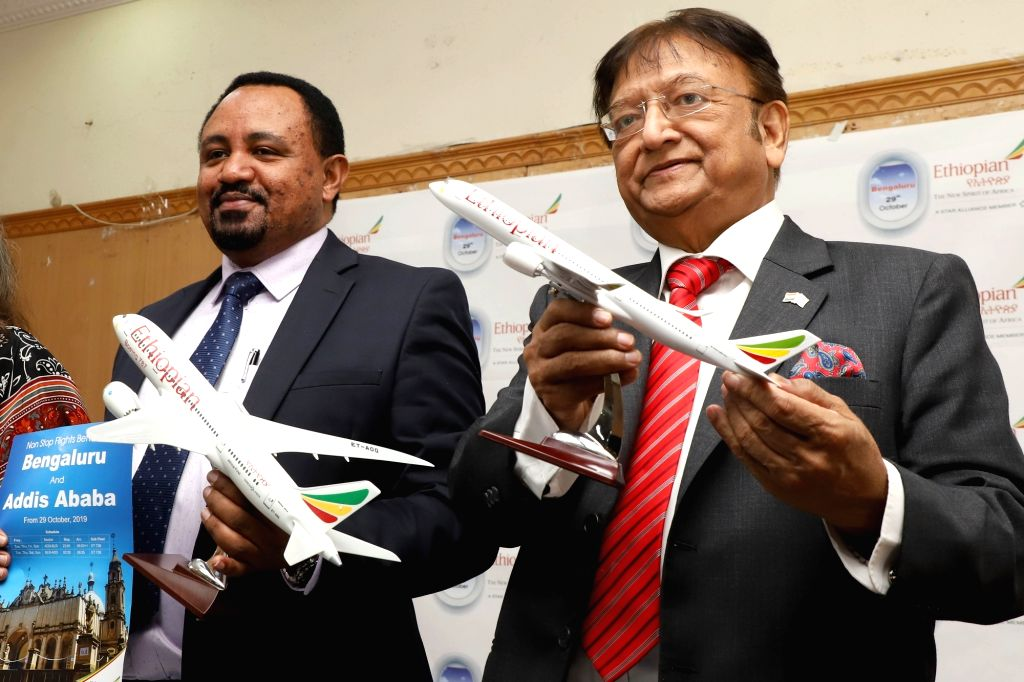 Ethiopian Airlines Regional Director for Indian subcontinent Tadesse Tilahun and STIC Travel Group Chairman Subhash Goyal during a press conference at the launch of Ethiopian Airlines' ...