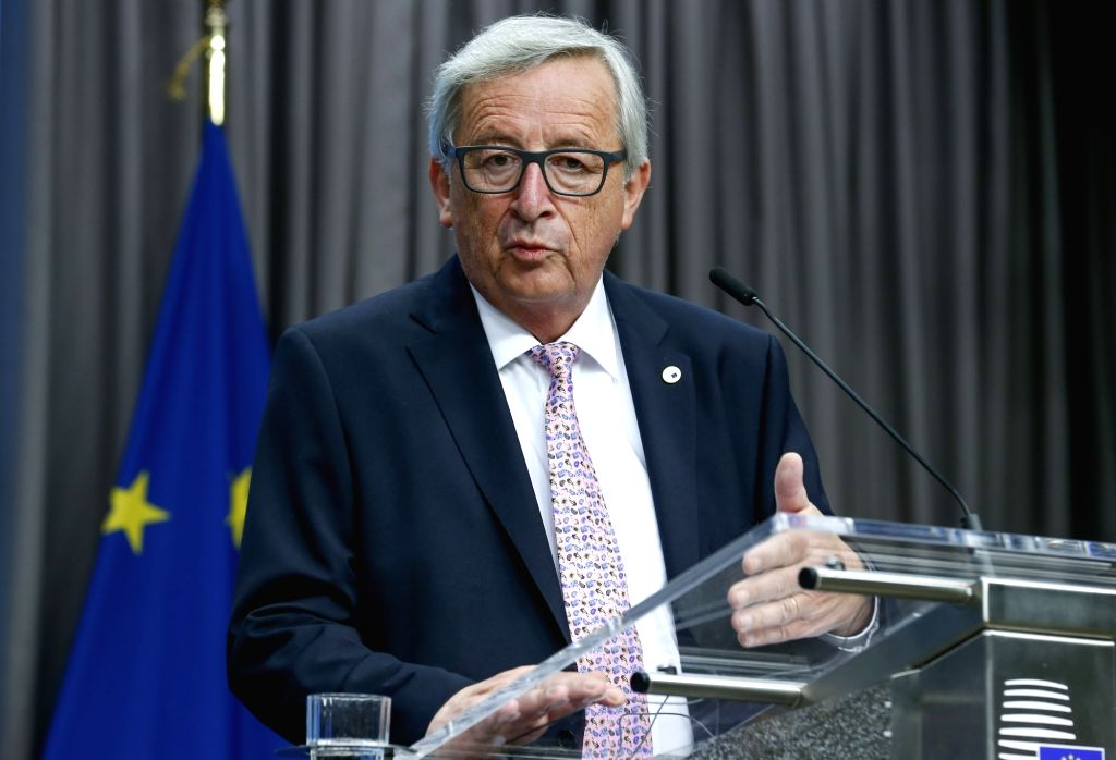 EU Commission President Jean-Claude Juncker speaks during a joint press briefing at the end of a two-days EU Summit in Brussels, Belgium, June 23, 2017.