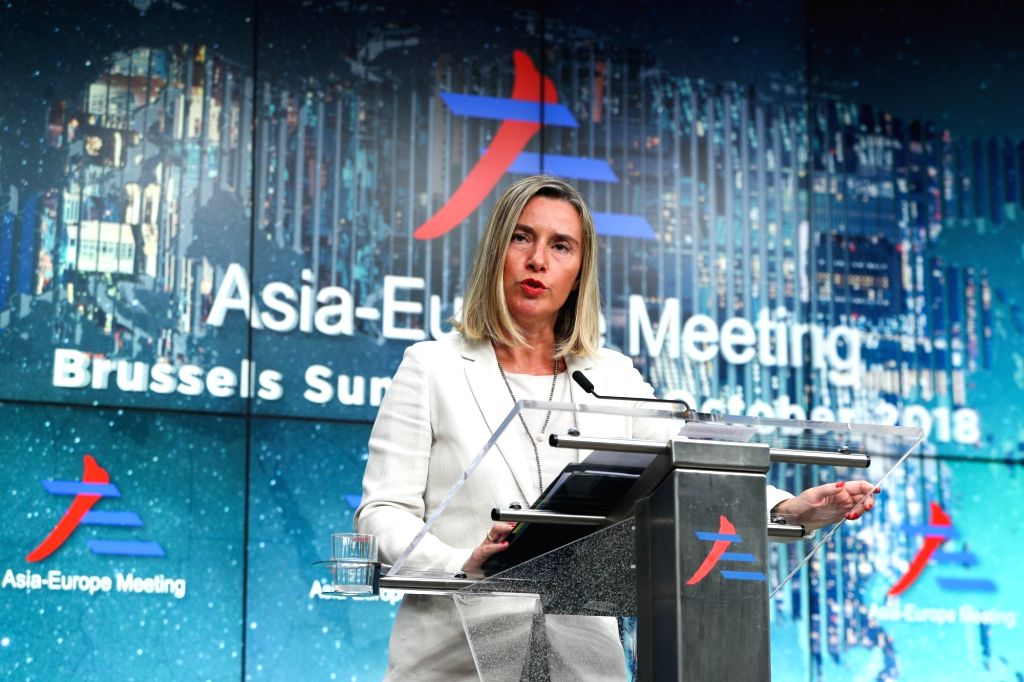: EU's foreign affairs and security policy chief Federica Mogherini speaks during a press conference of the 12th Asia-Europe Meeting Summit in Brussels, ...
