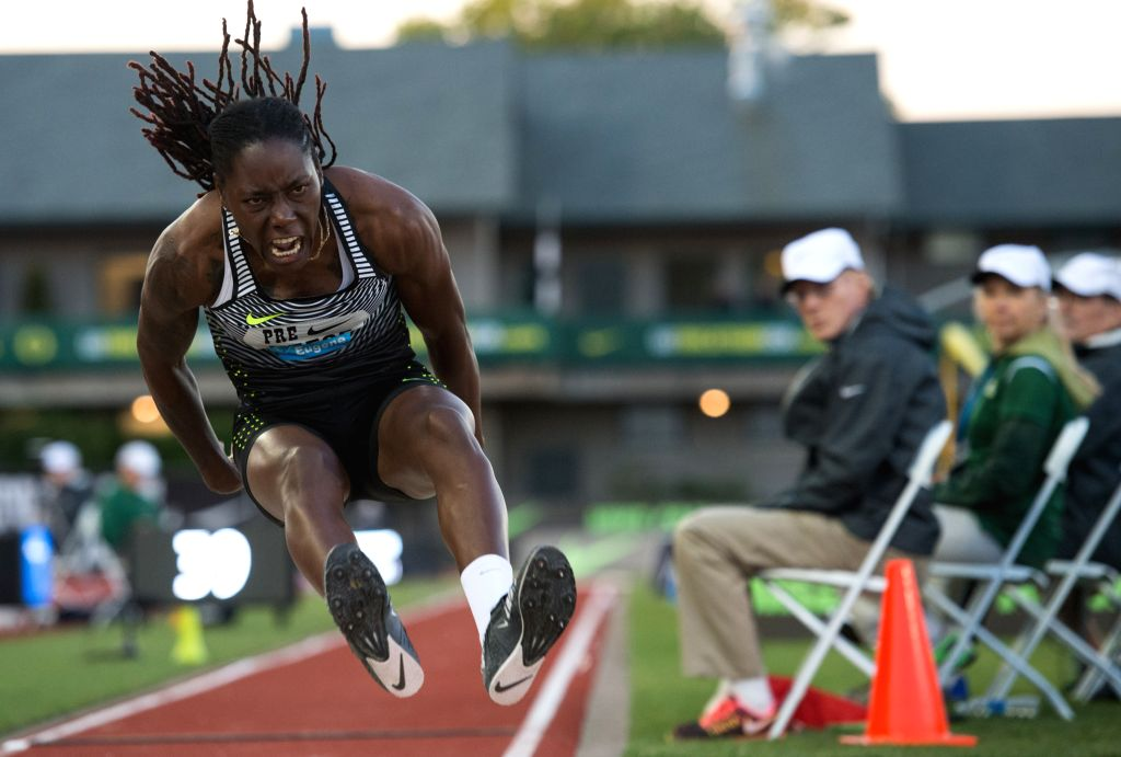 EUGENE, May 28, 2016 - Brittney Reese of the United States competes during the Women's Long Jump Final at the 2016 IAAF Diamond League in Eugene, the United States, on May 27, 2016. Brittney Reese ...