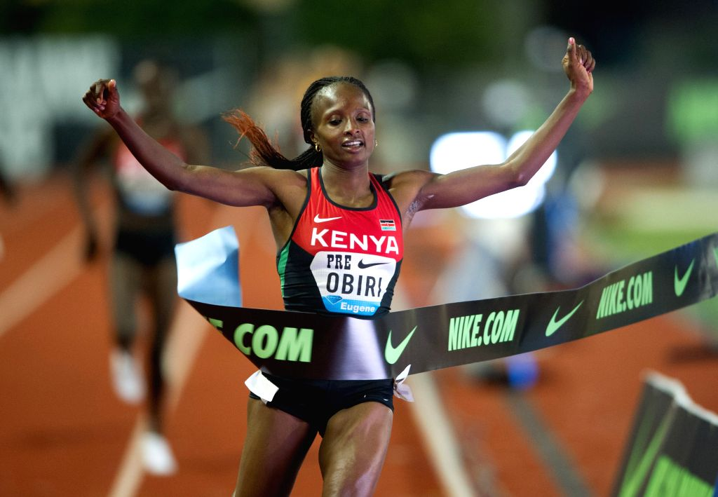 EUGENE, May 28, 2016 - Hellen Onsando Obiri of Kenya sprints during the Women's 5000 Metres Final at the 2016 IAAF Diamond League in Eugene, the United States, on May 27, 2016. Hellen Onsando Obiri ...