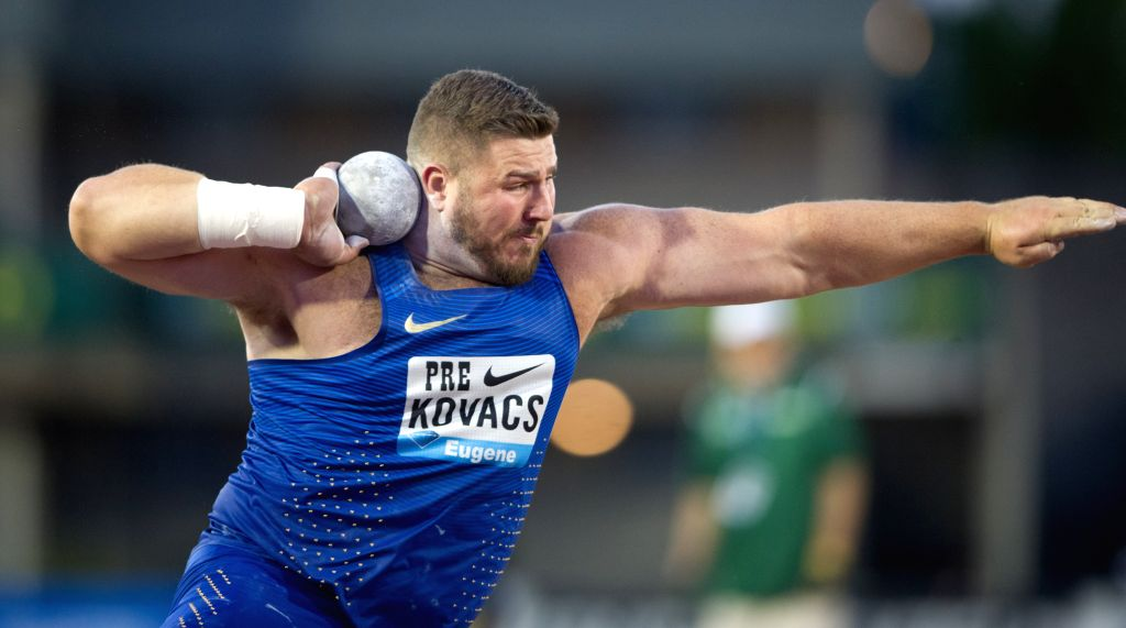EUGENE, May 28, 2016 - Joe Kovacs of the United States competes during the Men's Shot Put Final at the 2016 IAAF Diamond League in Eugene, the United States, on May 27, 2016. Joe Kovacs claimed the ...