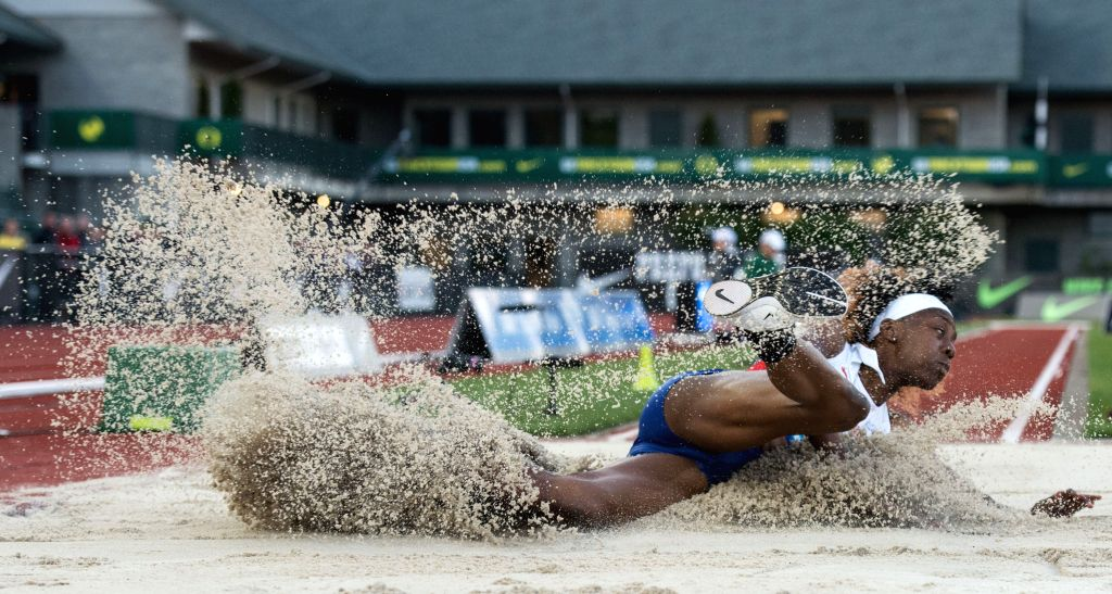 EUGENE, May 28, 2016 - Lorraine Ugen of Great Britain competes during the Women's Long Jump Final at the 2016 IAAF Diamond League in Eugene, the United States, on May 27, 2016. Lorraine Ugen took the ...