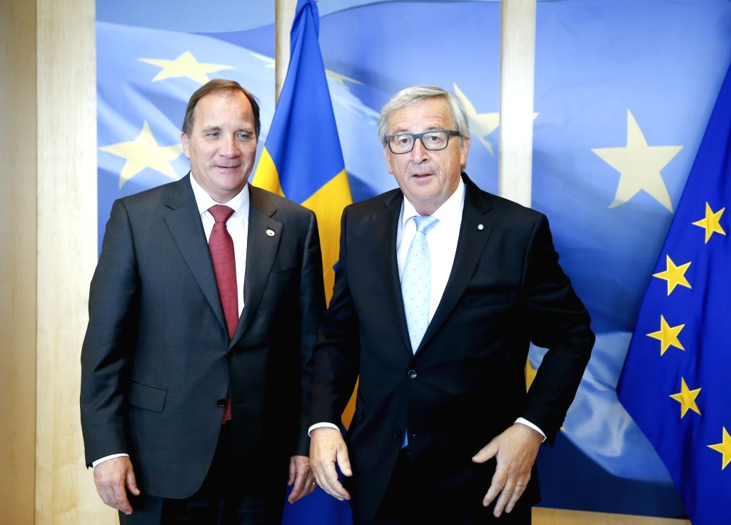 European Commission President Jean-Claude Juncker (R) meets with Swedish Prime Minister Stefan Lofven prior to a meeting in Brussels, Belgium, June 22, 2017. - Stefan Lofven