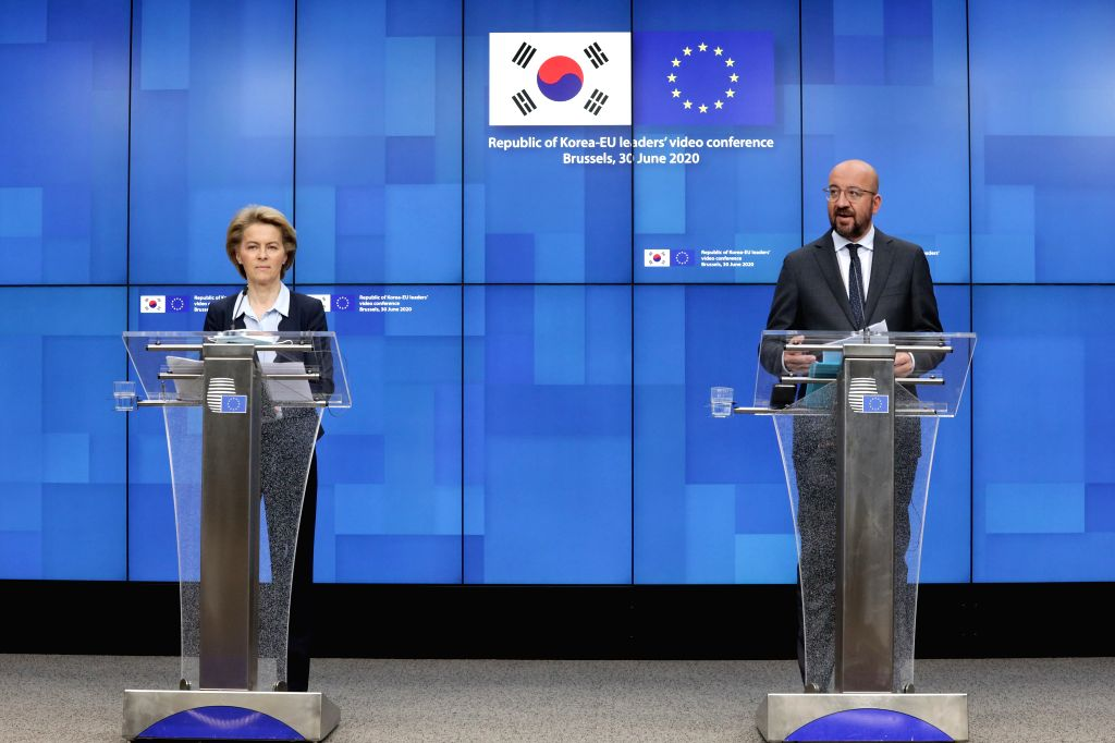 European Commission President Ursula von der Leyen (L) and President of the European Council Charles Michel attend a press conference following the Republic of ...