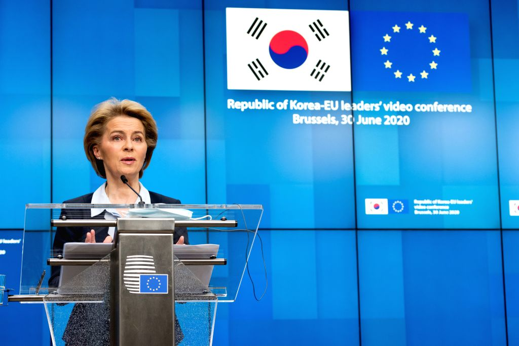 European Commission President Ursula von der Leyen speaks at a press conference following the Republic of Korea-EU leaders' video conference at the EU headquarters ...