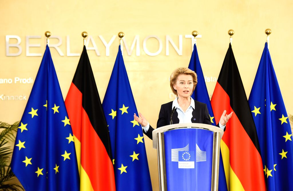 European Commission President Ursula von der Leyen speaks during a video press conference with German Chancellor Angela Merkel (not in the picture) at the European ...