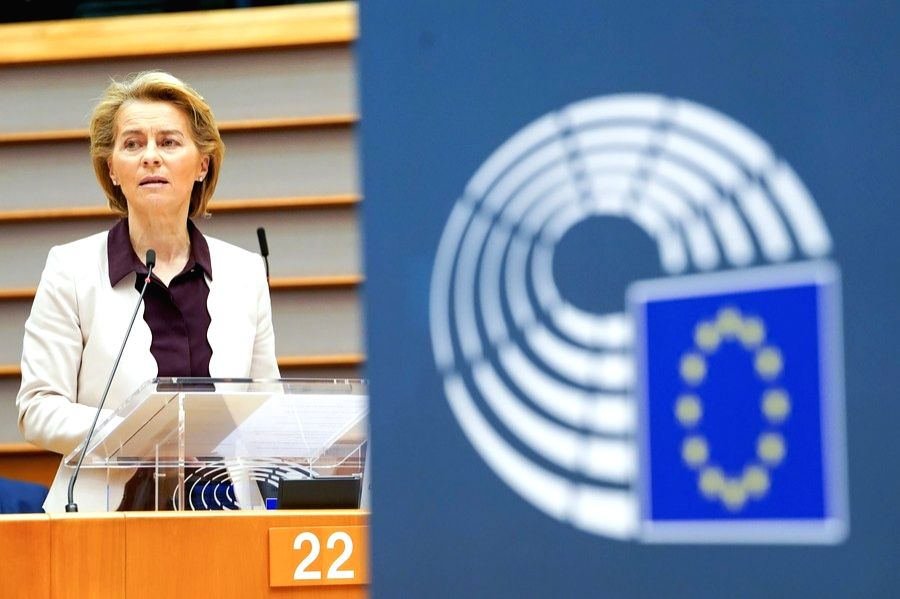 European Commission President Ursula von der Leyen makes a statement at an extraordinary European Parliament plenary session in Brussels, Belgium, July 23, 2020.