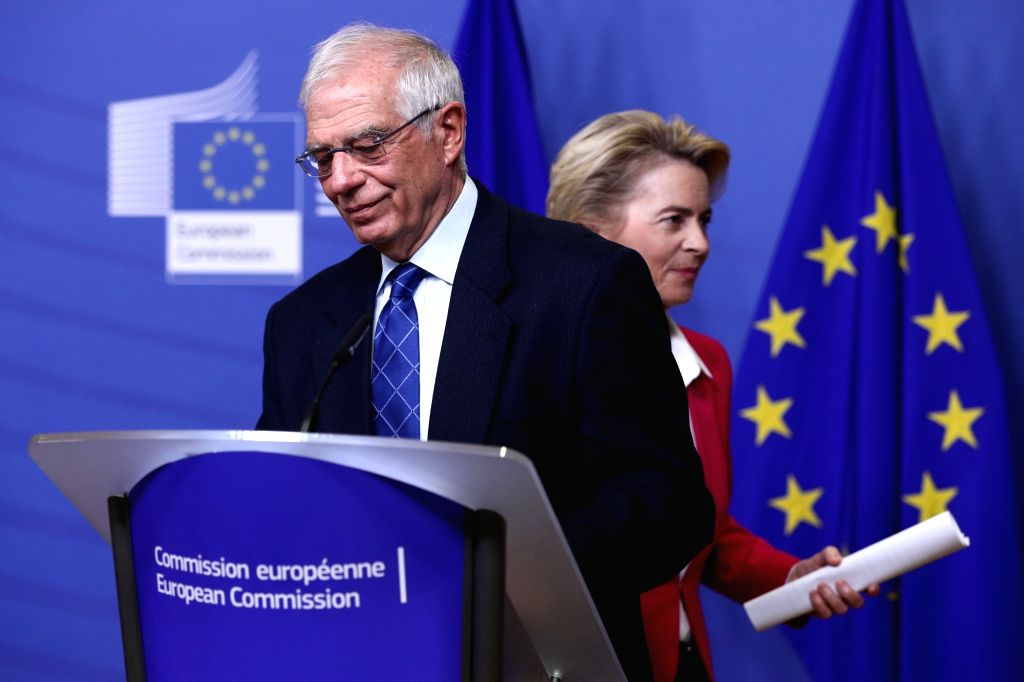 European Commission President Ursula von der Leyen (back) and EU High Representative for Foreign Affairs and Security Policy Josep Borrell Fontelles prepare to ...