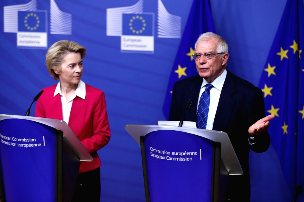 European Commission President Ursula von der Leyen (L) and EU High Representative for Foreign Affairs and Security Policy Josep Borrell Fontelles attend a press ...