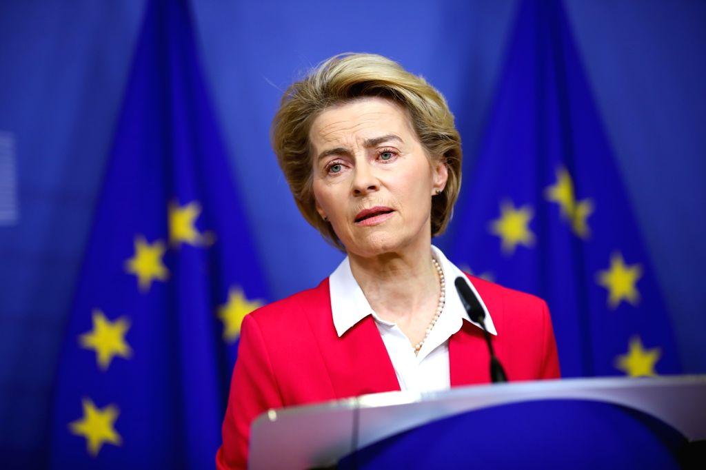 European Commission President Ursula von der Leyen speaks at a press conference after a meeting of the College of Commissioners at the EU headquarters in Brussels, ...