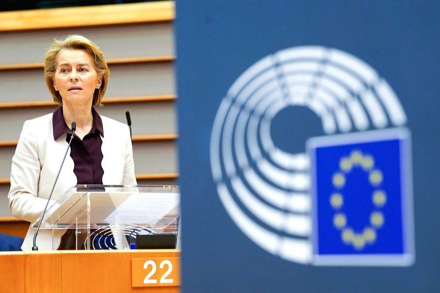 European Commission President Ursula von der Leyen makes a statement at an extraordinary European Parliament plenary session in Brussels, Belgium, July 23, 2020. (European Union/Handout via Xinhua/IANS)