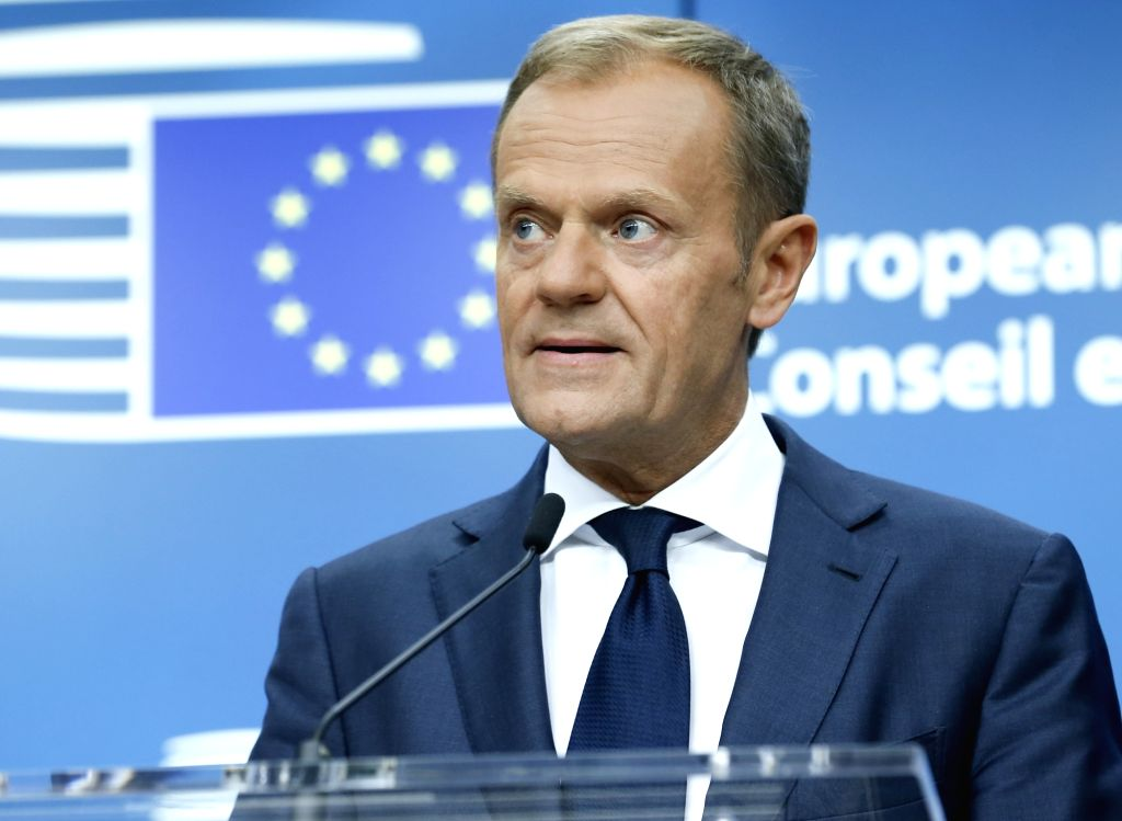 European Council president Donald Tusk speaks during a joint press briefing at the end of a two-days EU Summit in Brussels, Belgium, June 23, 2017.