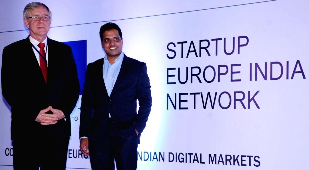 European Union ambassador to India Tomasz Kozlowski with Startup Europe India Network (SEU-IN) founder Praveen Paranjothi during Startup EU-INDIA Summit 2016 in Bengaluru, on Oct 20, 2016.