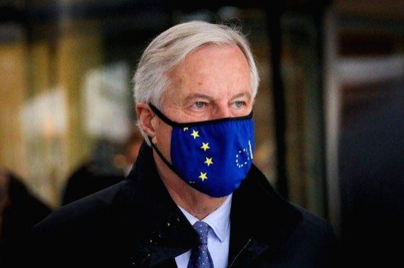 European Union (EU)'s chief Brexit negotiator Michel Barnier heads for trade talks with Britain in London, Britain, on Nov. 9, 2020.