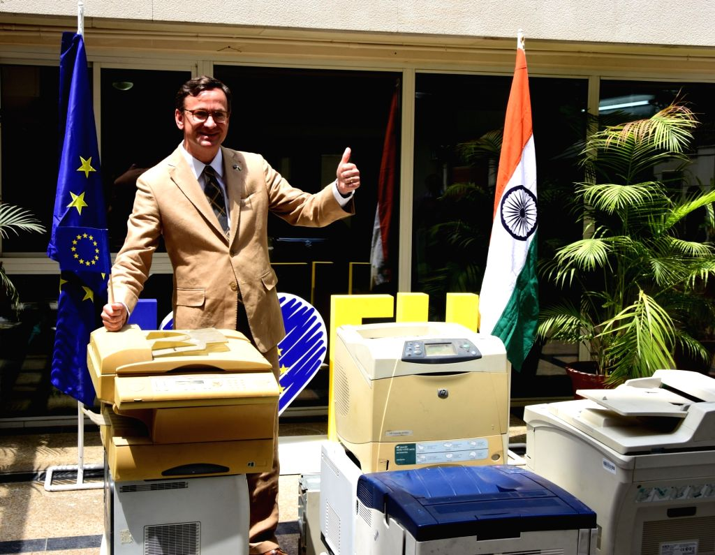 European Union's Deputy Head of Delegation Raimund Magis during a drive organised to collect electronic waste from embassies, at Satya Niketan in New Delhi on June 6, 2019.