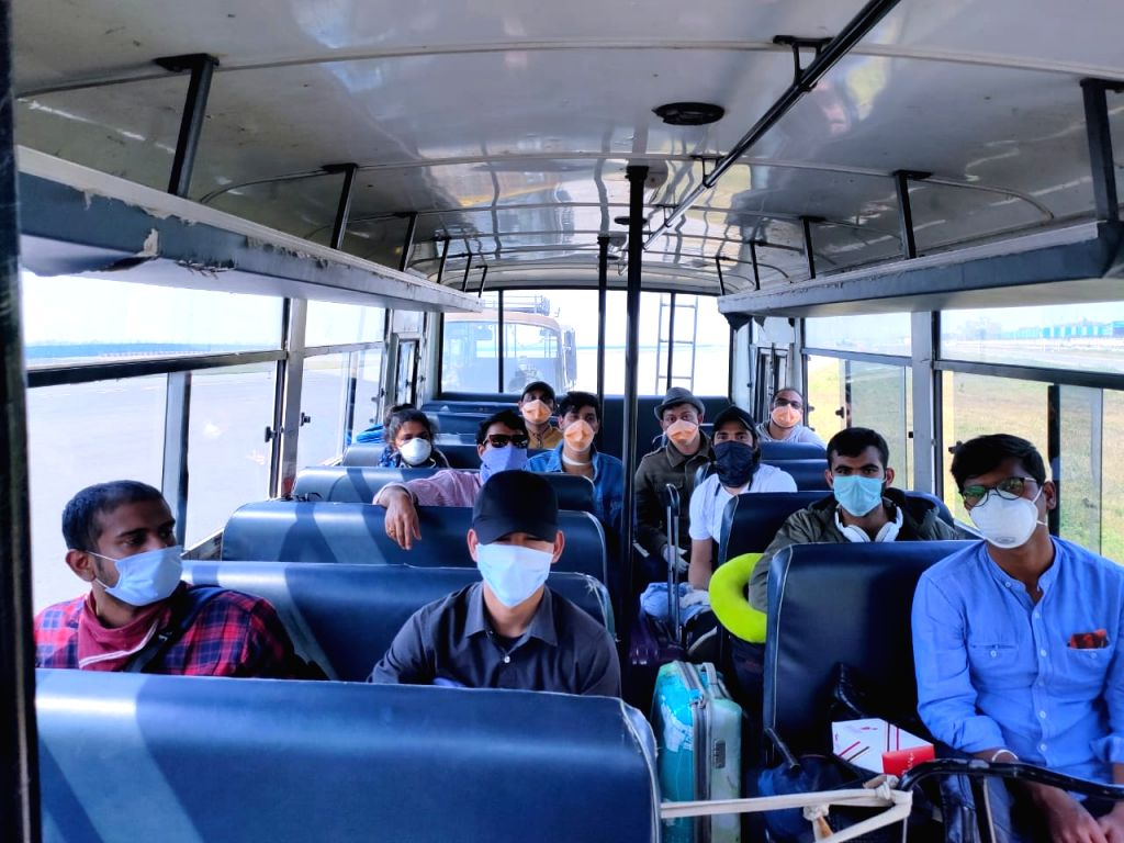 Evacuees from Rome, Italy being sent to ITBP Quarantine Facility, Chhawla in New Delhi from the Indira Gandhi International Airport in ITBP Buses, amid COVID-19 pandemic, on March 22, 2020.