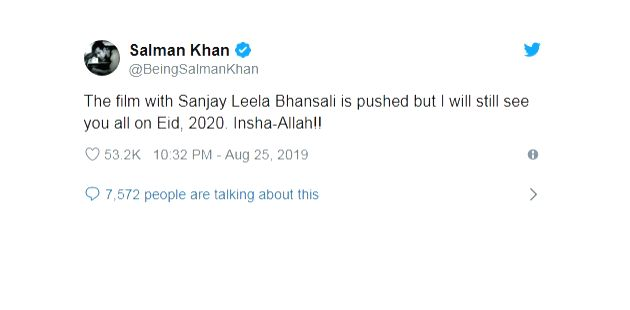 """Even as fans were getting over the disappointment of Salman Khan's Eid 2020 rekease, """"Inshallah"""", being shelved, the superstar has dropped what many feel is a hint of good news. In sync ... - Salman Khan"""