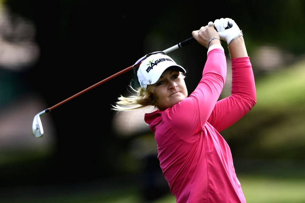 EVIAN-LES-Anna Nordqvist of Sweden plays a shot during the second round of the Evian Championship on Sept. 16, 2017 in Evian-les-Bains, France.