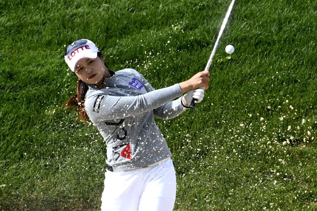 EVIAN-LES-Choi Hye Jin of South Korea plays a shot during the second round of the Evian Championship on Sept. 16, 2017 in Evian-les-Bains, France.