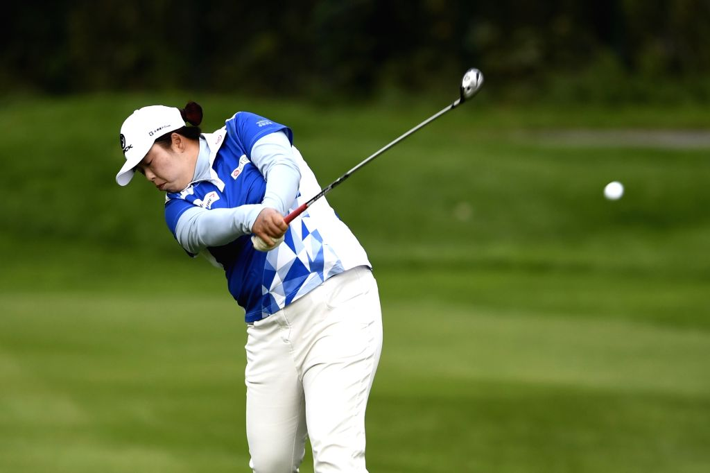 EVIAN-LES-Feng Shanshan of China plays a shot during the second round of the Evian Championship on Sept. 16, 2017 in Evian-les-Bains, France.