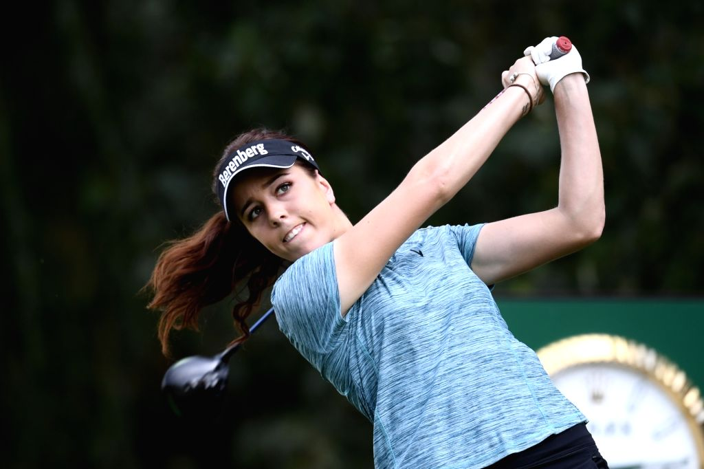 EVIAN, Sept. 14, 2018 - Georgia Hall of Britain plays a shot during the first round of the Evian Golf Championship on Sept. 13, 2018 in Evian-les-Bains, France.