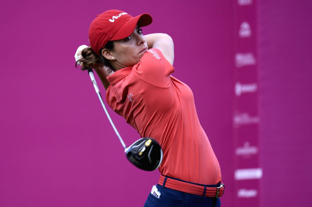 EVIAN, Sept. 15, 2018 - Gaby Lopez from Mexico plays a shot during the second round of the Evian Championship in Evian-les-Bains, France, on Sept. 14, 2018.