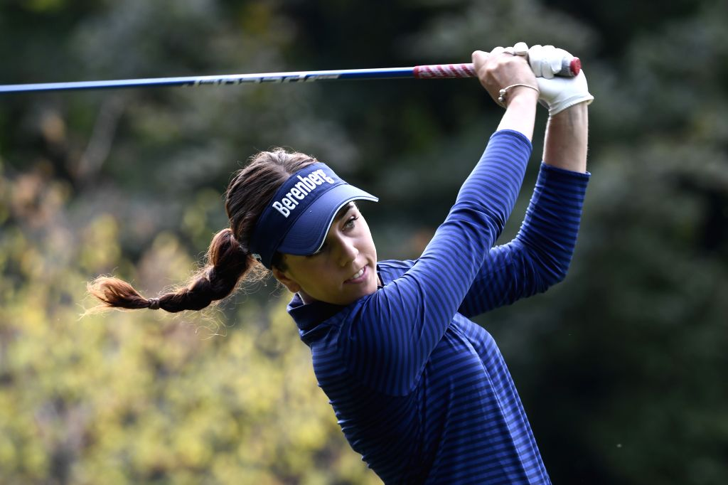EVIAN, Sept. 15, 2018 - Georgia Hall from Britain plays a shot during the second round of the Evian Championship in Evian-les-Bains, France, on Sept. 14, 2018.