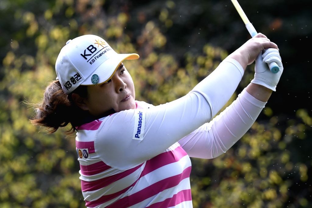 EVIAN, Sept. 15, 2018 - Imbee Park from South Korea plays a shot during the second round of the Evian Championship in Evian-les-Bains, France, on Sept. 14, 2018.