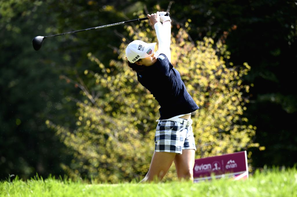 EVIAN, Sept. 15, 2018 - In Gee Chun from South Korea plays a shot during the second round of the Evian Championship in Evian-les-Bains, France, on Sept. 14, 2018.