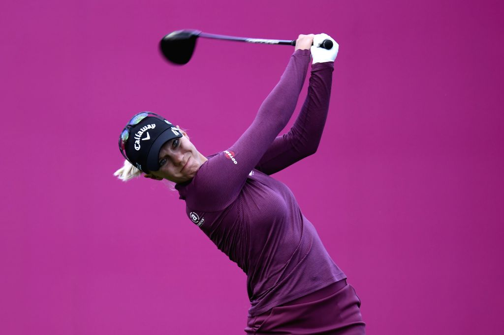 EVIAN, Sept. 15, 2018 - Magdalene Sagstrom from Sweden plays a shot during the second round of the Evian Championship in Evian-les-Bains, France, on Sept. 14, 2018.