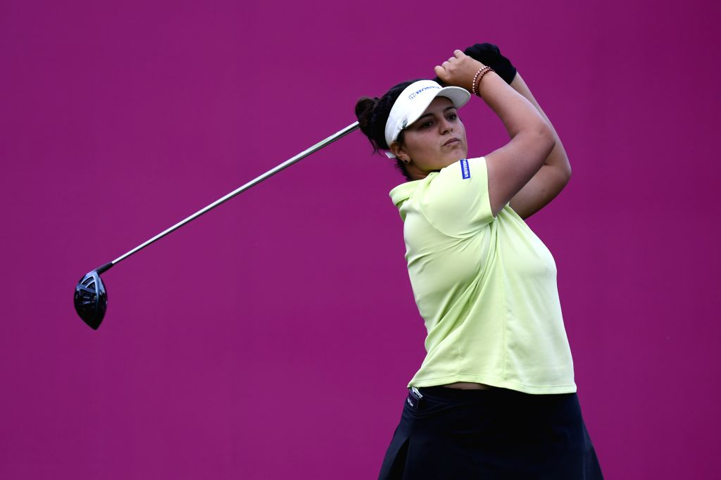 EVIAN, Sept. 15, 2018 - Maria Torres from Porto Rico plays a shot during the second round of the Evian Championship in Evian-les-Bains, France, on Sept. 14, 2018.