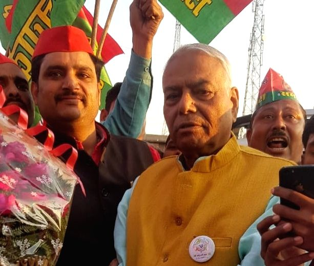 Ex-BJP leader and former Union Minister Yashwant Sinha during the 21-day long Mumbai-Delhi 'Gandhi Shanti Yatra' that reached Agra on Jan 25, 2020. - Yashwant Sinha