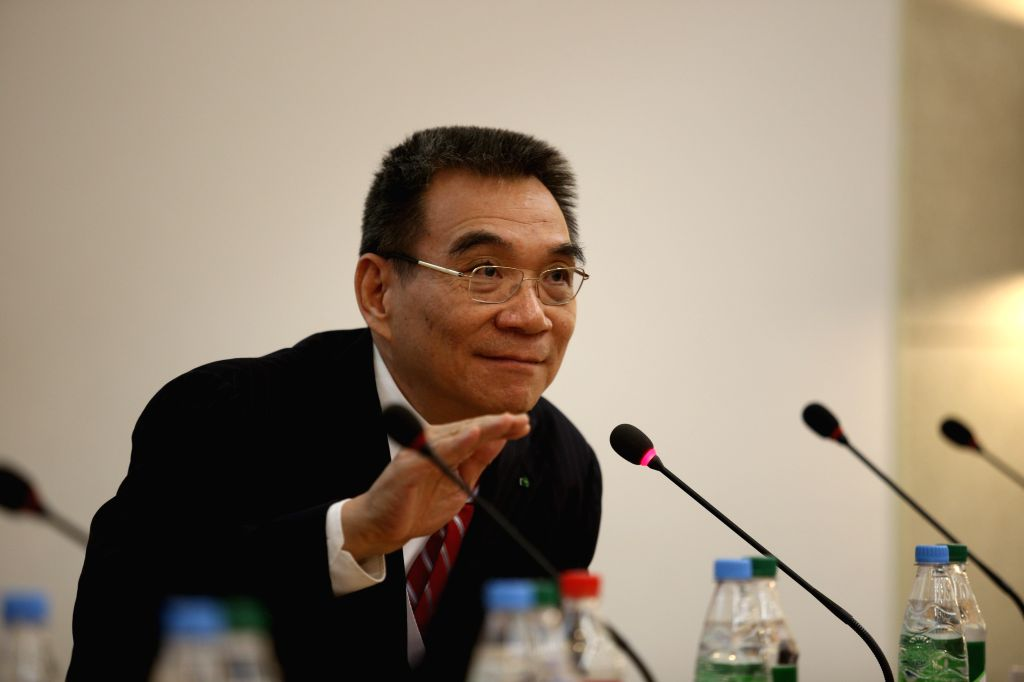 Ex-chief economist of the World Bank Justin Yifu Lin addresses the audience on current China economics during Gaidar economic forum in Moscow, Russia, on Jan. 13, ...