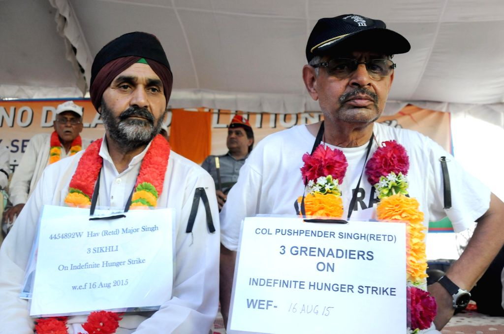Ex-servicemen go on fast unto death to press for One Rank One Pension -OROP- in New Delhi, on Aug 17, 2015.