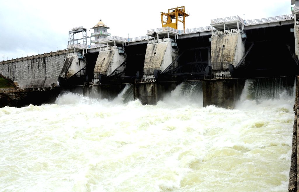 Excess water being released from the Kabini Dam after heavy rains in the dam's catchment areas filled it to its maximum limit, in Karnataka's Mysuru on Aug 9, 2018.