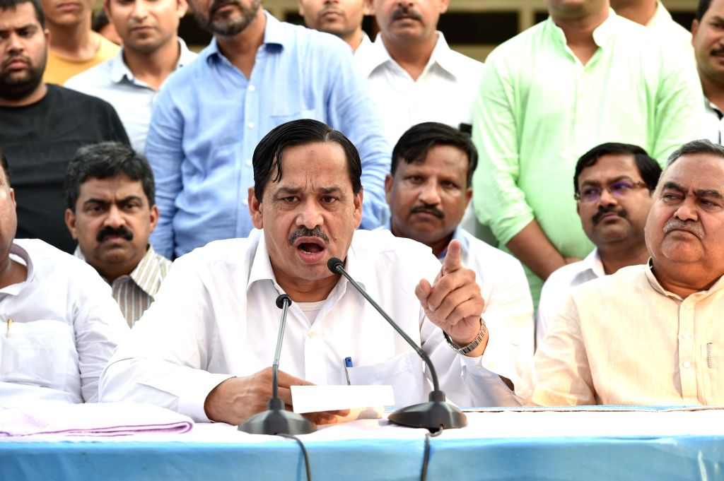 Expelled BSP leader Naseemuddin Siddiqui addresses a press conference in Lucknow on May 12, 2017.