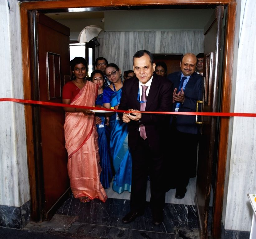 Export-Import Bank of India (Exim Bank) Deputy Managing Director Debasish Mallick inaugurates an exhibition, in Kolkata on April 12, 2019.