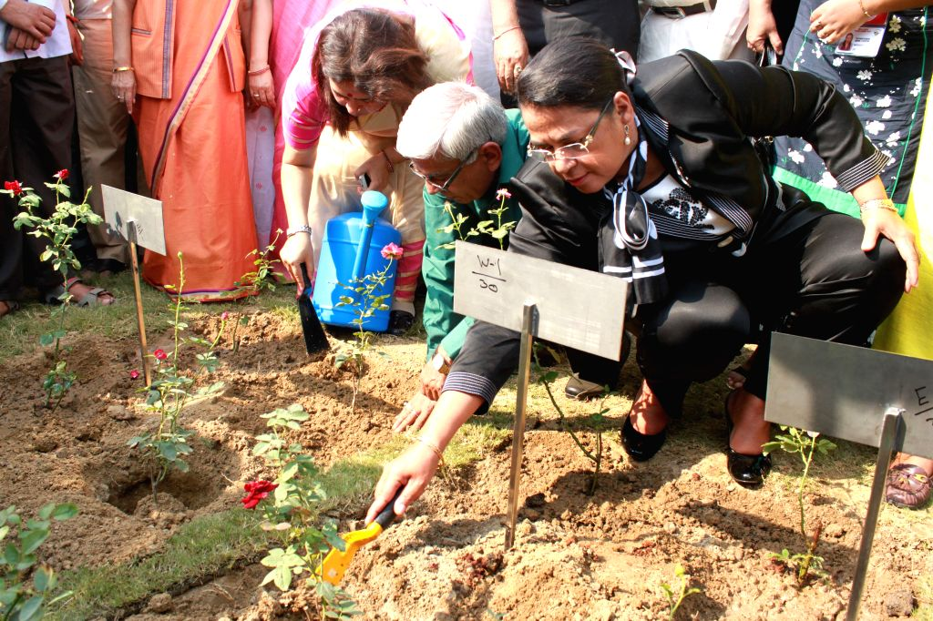 External Affairs Minister of Madagascar Beatrice Jeanine Atallah at the inauguration of India Africa Friendship Rose Garden in New Delhi, on Oct 25, 2015.