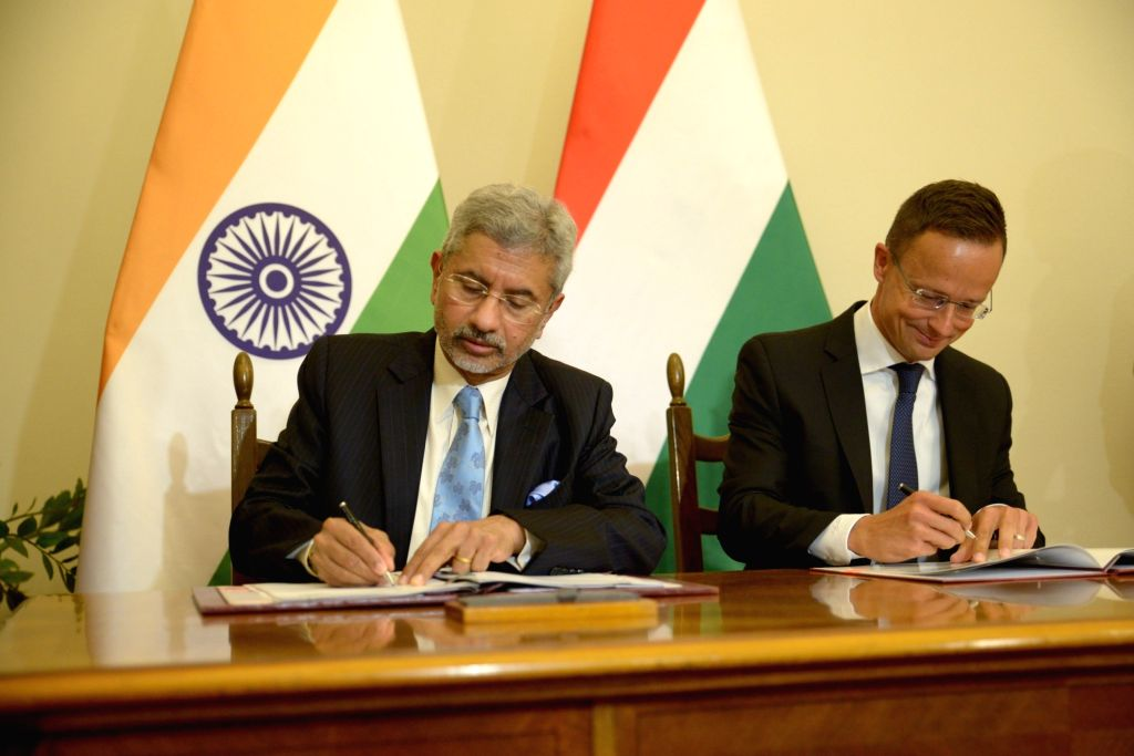 External Affairs Minister S. Jaishankar and Hungarian Foreign Minister Peter  Szijjarto sign Cultural Exchange Programme between India and Hungary, in Budapest on Aug 26, 2019. - S. Jaishankar