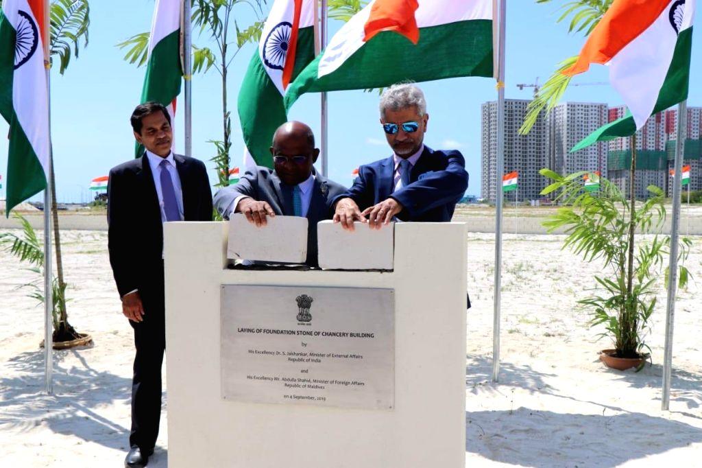 External Affairs Minister S. Jaishankar and Maldives Foreign Minister Abdulla Shahid lay foundation stone for the new embassy building, in Male on Sep 4, 2019. - S. Jaishankar