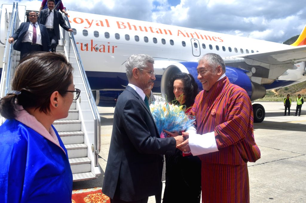 External Affairs Minister S. Jaishankar being welcomed on his arrival in Bhutan on a two-day official visit, on June 7, 2019. - S. Jaishankar