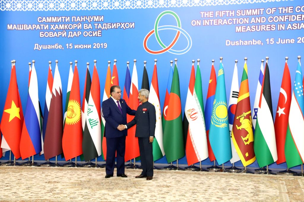 External Affairs Minister S. Jaishankar being welcomed by Tajikistan President Emomali Rahmon ahead of the 5th Conference on Interaction and Confidence Building Measures in Asia (CICA) ... - S. Jaishankar