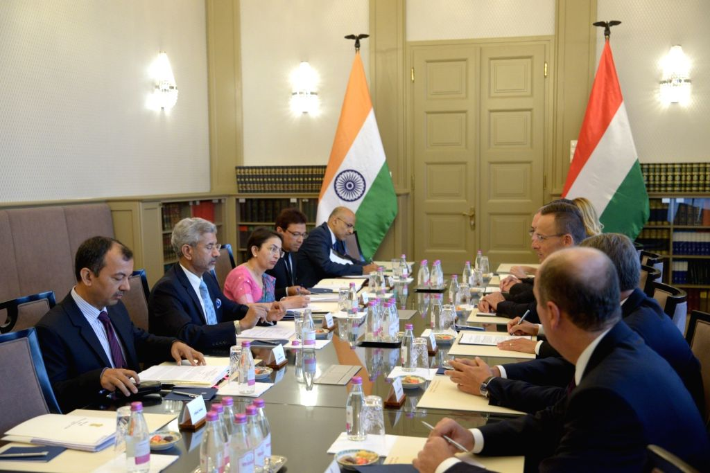 External Affairs Minister S. Jaishankar meets Hungarian Foreign Minister Peter Szijjarto in Budapest on Aug 26, 2019. - S. Jaishankar