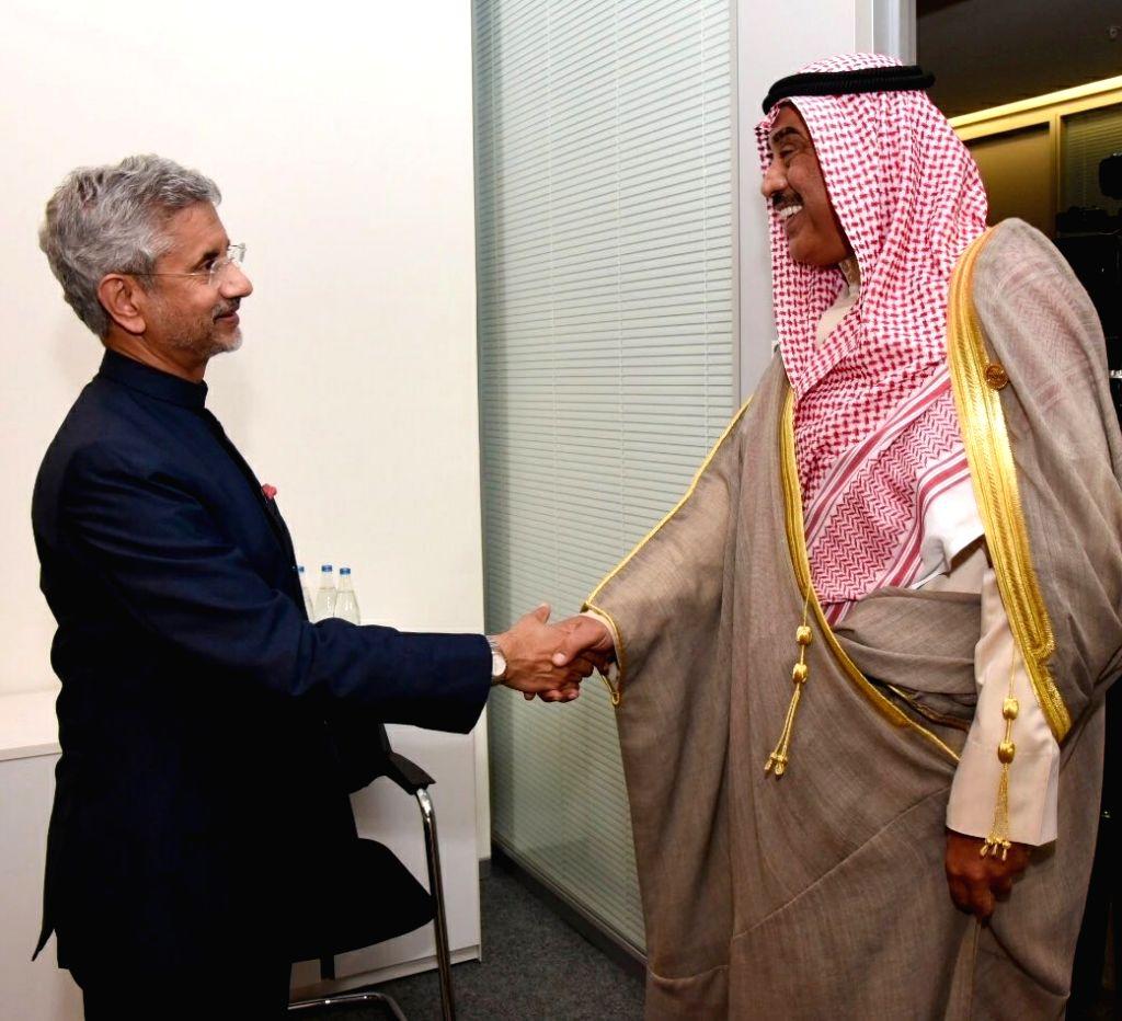 External Affairs Minister S. Jaishankar meets Kuwait's Foreign Minister Sheikh Sabah Khaled Al-Hamad Al-Sabah in Baku, Azerbaijan on Oct 26, 2019. - S. Jaishankar and Sabah Khaled A
