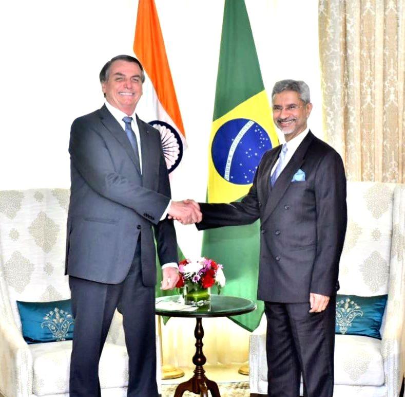 External Affairs Minister S. Jaishankar meets Brazilian President Jair Bolsonaro in New Delhi on Jan 25, 2020. The President, who is the Chief Guest in Sunday's Republic Day celebrations, ... - S. Jaishankar