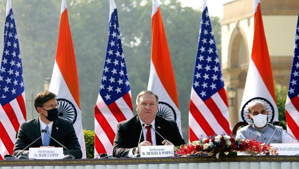 External Affairs Minister S. Jaishankar, US Defence Secretary Dr. Mark T. Esper and US Secretary of State Mike Pompeo during India-USA 2+2 Dialogue, at Hyderabad House in New Delhi on Oct ... - S. Jaishankar