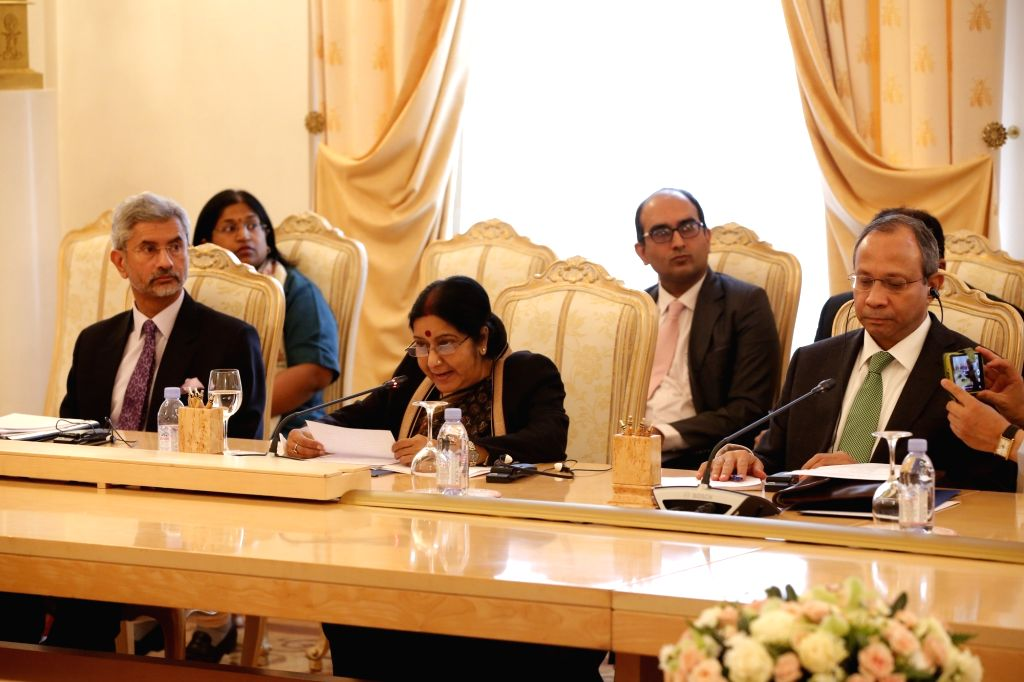 External Affairs Minister Sushma Swaraj participates in the RIC Ministerial Meeting in Moscow on April 18, 2016. - Sushma Swaraj